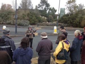 Protest wrth Parc Aberporth